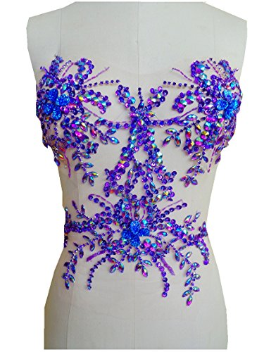 Handmade Purple Crystal Patches Sew on Trim Rhinestones Applique on mesh with Stones Sequins Beads 34x34cm for Dress Accessory