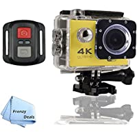 FrenzyDeals Yellow Ultra HD Wifi Waterproof Sports Camera with Wrist RF remote + FrenzyDeals Microfiber Cloth