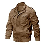 CRYSULLY Mens Fall Zip-Front Bomber Jacket Thermal Coat Lightweight Military Pilot Jackets Khaki