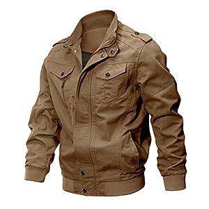 CRYSULLY Men's Fall Cotton Casual Windbreaker Military Air Force Coat Bomber Cargo Jackets Outdoor