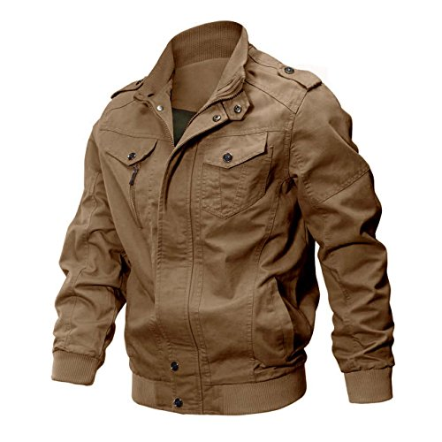 CRYSULLY Men's Fall Cotton Windbreaker Military Zipper Bomber Cargo Jacket Air Force Coat Khaki/US S/Tag L