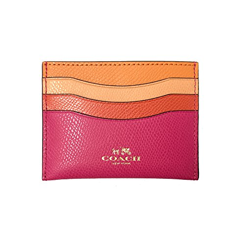 Coach Rainbow Colorblock Flat Leather Card Casee 65527