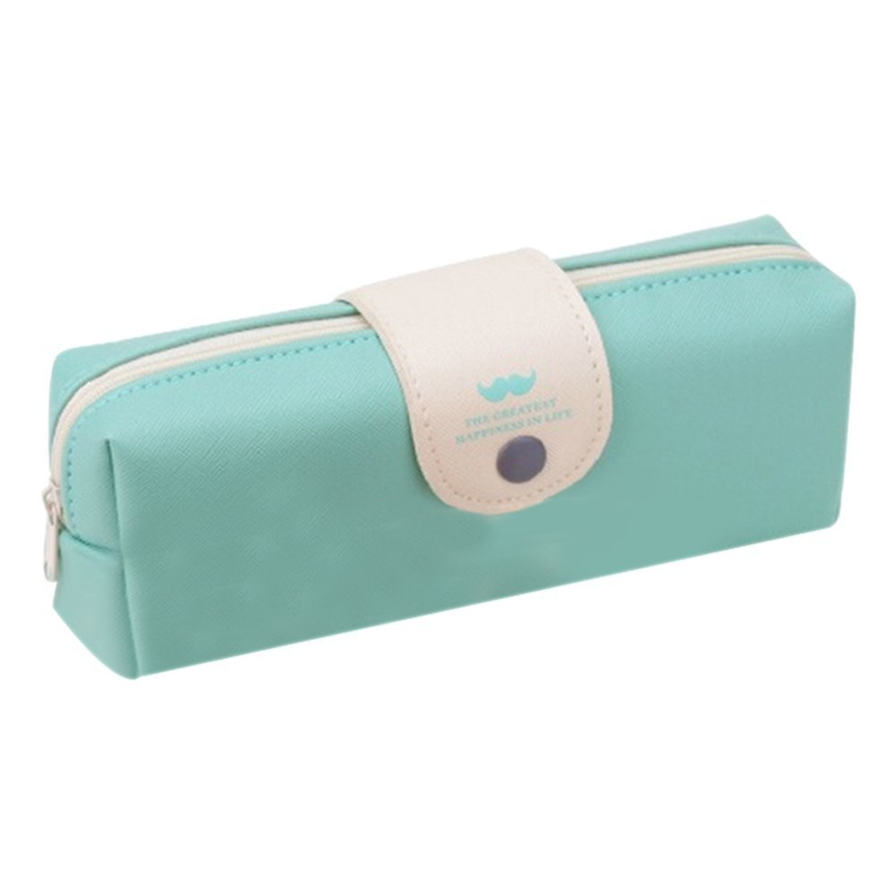 GQMART Students Pencil Pen Bag Coin Purse Beauty Makeup Pouch Zip Handbag One Size,Light Blue
