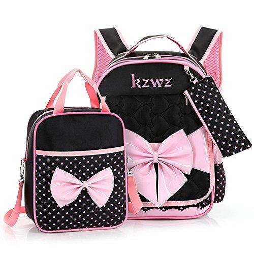 Ultra Cute Bow Backpack Waterproof School Bag and Lunch Handbag Pencil Case Set for Girls (Black)