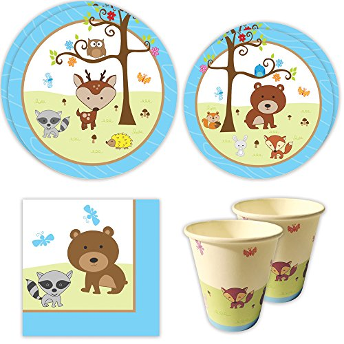 Woodland Boy Standard Party Packs (65+ Pieces for 16 Guests!), Boy's 1st Birthday Tableware, Boy Baby Shower Supplies, Woodland Themed Birthday (Party City First Birthday)