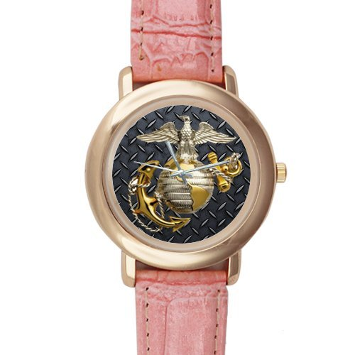 Cool United States Marine Corps (USMC) Pink Leather Alloy High-grade Watch