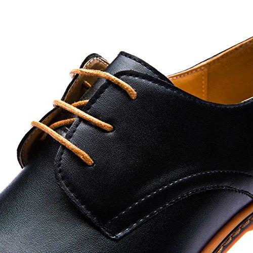 de de Cuero Cordones Minetom Negocios con Zapatos Negro Comodidad de Oxfords Hombres Vestir Planos Británico Boda Estilo de 6xwCxz8q
