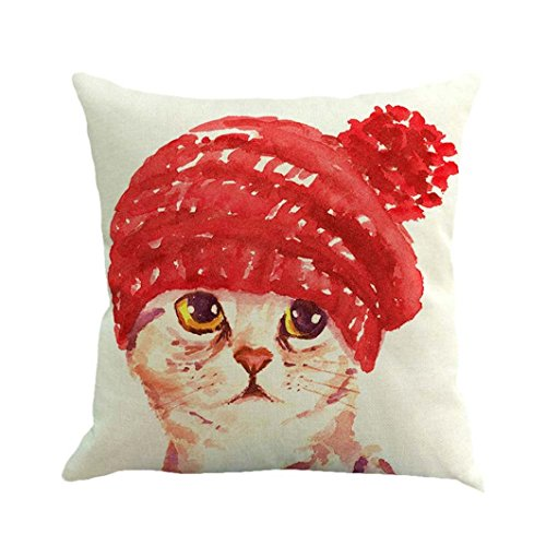 Hot Sale!! Auwer Cute Cat Flax Pillow Case Square Cushion Cover Waist Throw Durable Decorative For Sofa,Bed,Chair,Auto Seat,Home Decor Festival Gift Pillowcase 18'' (B)