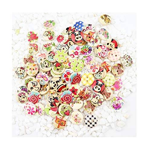 (WYSE 200pcs Mixed Kids Cartoon Animal Buttons with 2 Holes for Sewing Scrapbooking and DIY Craft 15mm(Cartoon))