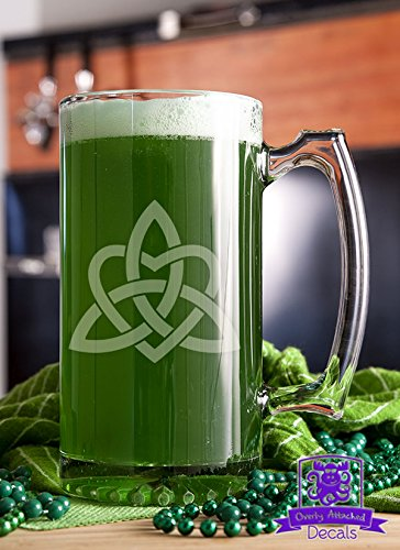 - Celtic Trinity Knot with Heart Etched Glass 16 Ounce Stein Mug Glassware Gift