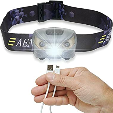 USB Rechargeable Headlamp Flashlight - Super Bright, Lightweight & Comfortable, Easy to Use - Perfect for Running, Walking, Camping, Reading, Hiking, Kids, DIY & More, USB Cable Included