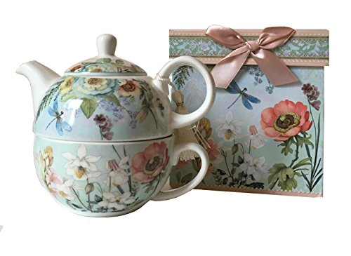 """Delton Products 5.8"""" Porcelain Tea for One in Gift Box, Dragonfly"""