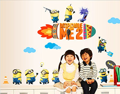 Minions family Despicable Me 2 Wall sticker Wall Decals Home Kids Boy Decor DIY 60*90cm