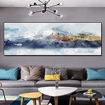 SDFSD Acuarela Amarillo y Bule Mountain Lienzo Pintura Moderna Decorativa Pared Cuadros Abstracto hogar decoración Pintura Impresiones 50x150 cm