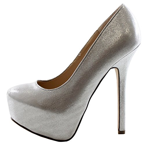 Women's Almond Pointed Toe Vegan Platform Stiletto Pump Metallic Silver Breckelle's Bridal Collection, 8 (Classic Metallic Pumps)