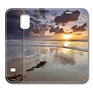 Brain114 Fashion Style Case Design Flip Folio PU Leather Cover Standup Cover Case with Dark Clouds Over Ocean Pattern Skin for Samsung Galaxy S5 I9600