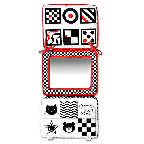 Black, White and Red 2-in-1 Smile Baby Crib and Floor Mirror by Genius Baby Toys (Image #2)