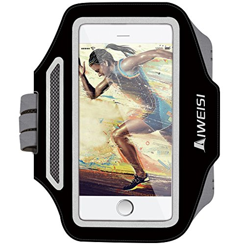 Cell Phone Armband,AIWEISI Lightweight Waterproof Running Armband for iPhone 6Plus/6S Plus/7Plus Samsung Galaxy S5 S6 S7 Edge LG HTC for Sports Walking Biking Exercise with Key holder and Reflective Band
