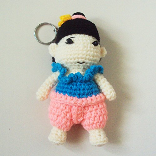 Thailand National Costume For Children (Agility Thai Girl in Blue & Pink National Costume Cute Doll Knitting Yarn Crochet Key Chain, Key Ring)
