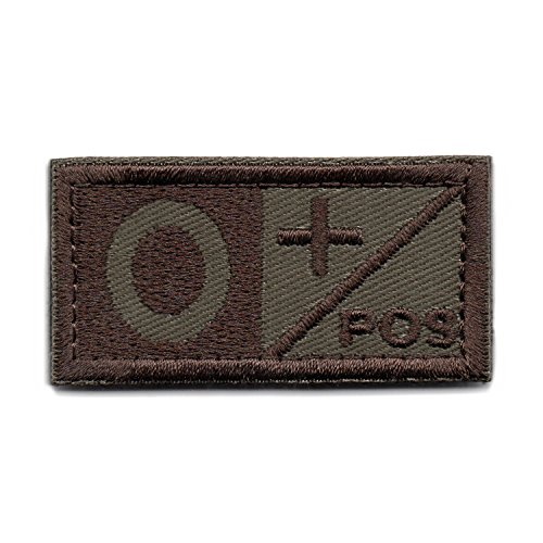 (Tactical Blood Type O+ Positive POS Hook and Loop Patch Embroidered Morale Military Badge for Outdoors (Brown O+))