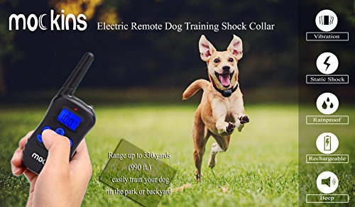 Mockins 100% Rainproof Rechargeable Electronic Remote Dog Training Shock Collar Beep Vibration - E-Collar 330 Yards (990 ft) Distance … … … … … … by Mockins (Image #4)