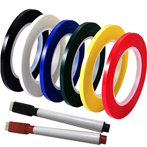 Grid Spot - Grid Tape Set Best for Dry Erase Whiteboard Charts, Graphs, Arts & Crafts. 6 Roll Pack in Glossy Colors. Durable and Easy Use Multi-Purpose Non-Marking. Comes with Black & Red Marker Pen. 1/8