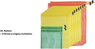 12 Bolsas para Frutas y Verduras Multiusos Ecologicas para Supermercado, Reusable Grocery Bags Almacenamiento de Frutas...