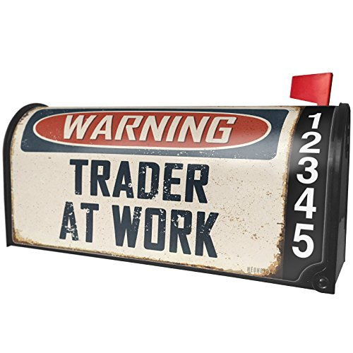 NEONBLOND Warning Trader at Work Vintage Fun Job Sign Magnetic Mailbox Cover Custom Numbers ()