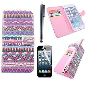 ZXM- cubierta de cuero de color geométrica pu con ranura para tarjeta con lápiz táctil y la película protectora para el iphone 6