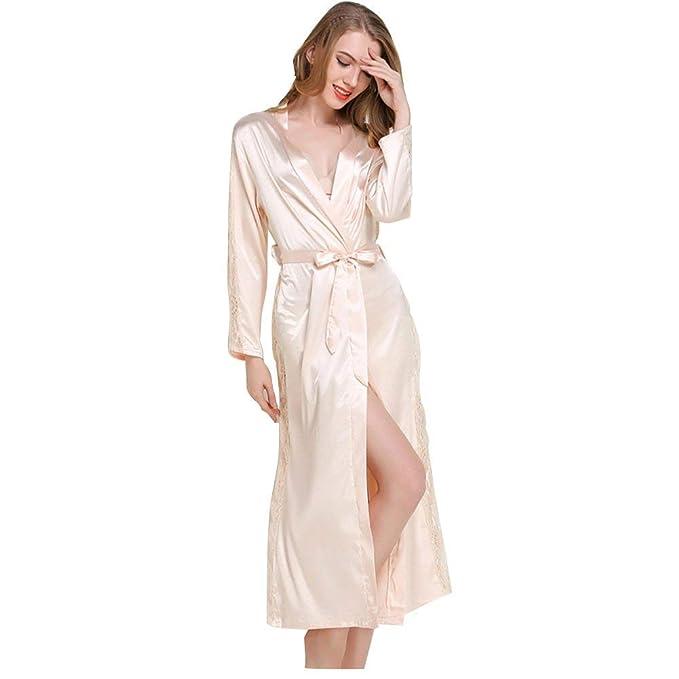 Mujer Kimono Primavera Otoño Colores Sólidos Pijamas Mujer Elegantes Manga Larga Casual Moda Batas V-Cuello Albornoz Casuales Mujeres Camisones con ...
