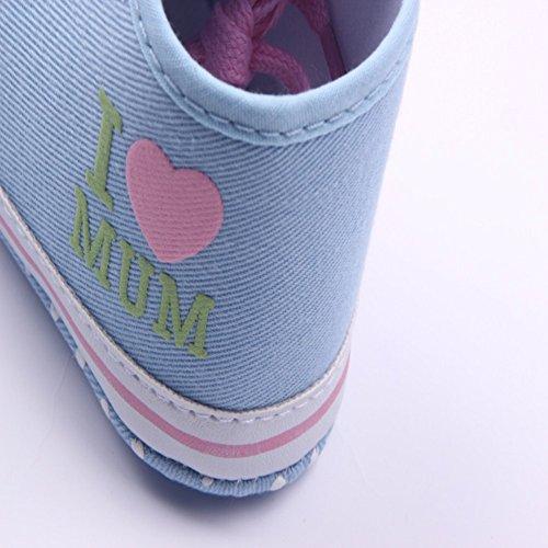 etrack-online bebé niña Prewalker Suela Suave Antideslizante Zapatillas Zapatos rosa rosa Talla:12-18months azul claro