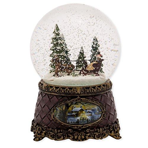Sleigh Scene Musical Christmas Table Top Glitterdome Plays Tune Jingle Bells