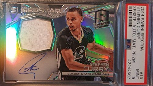 Stephen Curry Signed Jersey - 2014 15 Panini Spectra Superstar MINT 9 - PSA/DNA Certified - Basketball Slabbed Autographed Rookie Cards
