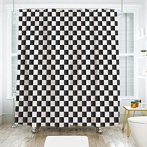 scocici DIY Bathroom Curtain Personality Privacy Convenience,Checkered,Monochrome Composition with Classical Chessboard Inspired Abstract Tile Print Decorative,Black White,70.8