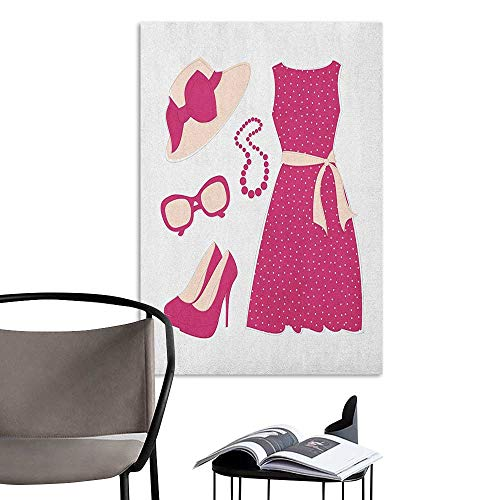 Camerofn Wall Mural Wallpaper Stickers Fashion Pastel Colored Dress Hat with a Ribbon High Heels and Necklace Woman Clothing Pale Peach Pink Fashion Stickers for Wall W8 x ()