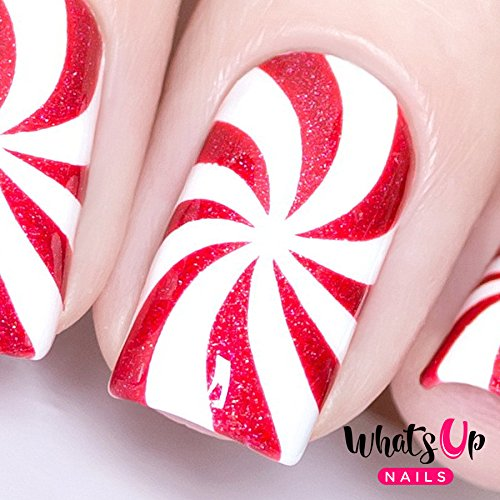 - Whats Up Nails - Peppermint Candy Vinyl Stencils for Christmas Nail Art Design (1 Sheet, 12 Stencils)