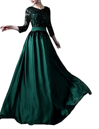 Emmani Womens Illusion Sleeve Applique Long Mothers Evening Dresses Black Green 0