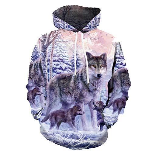 KYKU Wolf Hoodie Men Wolves Hoodies 3D Family Sweaters Love Sweatshirt Pullover (Large) ()