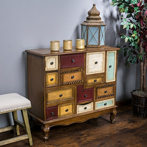Bedroom Living Room Dresser (Leo Multicolor Wood Chest of Drawers Cabinet)