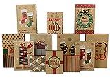 Arts & Crafts : Iconikal Christmas - Holiday Kraft Gift Boxes Assortment - 3 Sizes - 12 Pack