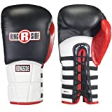 Ringside Pro Style IMF Tech Training Gloves, Lace Up (Black, 14-Ounce)