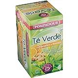 Pompadour Té Té Verde con Jengibre y Naranja, 20 Sobres