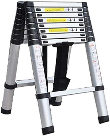 ZCF Escalera telescópica De Múltiples Fines Aluminio Escalera Telescópica, Portátil Extensible Un Marco y Una Escalera Recta para el Jardín del Constructor del Trabajo Casero de DIY: Amazon.es: Hogar