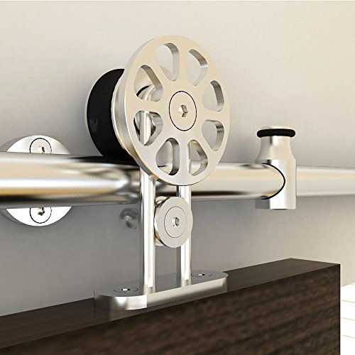 ZEKOO 5 FT- 16 FT Single Stainless Steel Sliding Barn Wood Door Hardware Flat Track Roller Kit America Style (6 FT Single door kit) by HomeDeco Hardware