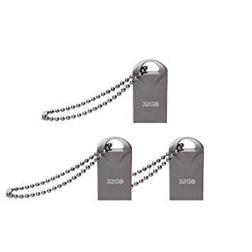 lUCKGOOD886 Memoria USB 32GB [3 Piezas] Mini Pendrive 32GB Memoria Flash Metal USB Flash Drive 32 GB con Llavero para Computadoras, Tabletas ...