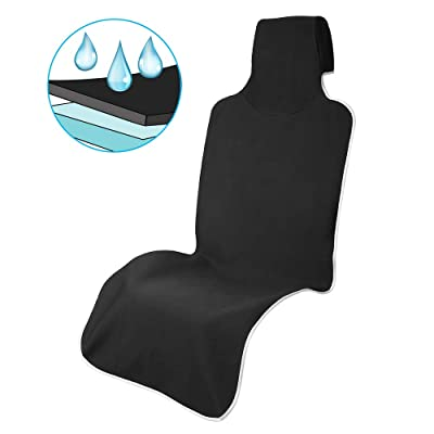 Waterproof Car Seat Covers, Universal Front Bucket Seat Protectors for Cars Trucks SUV, Neoprene Covers for Car Seats Machine Washable, Black【1 Piece】: Automotive