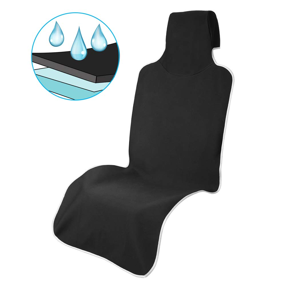 Car Seat Cover Waterproof Car Seat Protector Non-Slip SBR Vehicle Seat Protector, Best Protection for Sweat, Stains & Smell, Fit for Most Sedan Cars, SUVs, Black (59'' long x 26'' wide) (Full Size) 1PCS