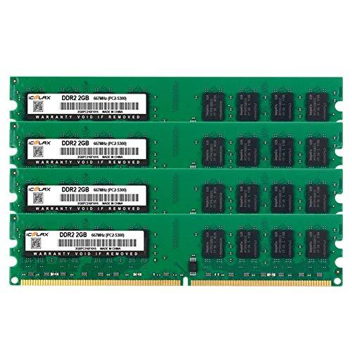 iCOOLAX 8GB Kit 4x2GB DDR2 667MHz PC2-5300 CL5 240-Pin 1.8v Unbuffered Non-ECC DDR2-667 Memory Modules UDIMM Desktop Computer Memory (8GB Kit 667Mhz)
