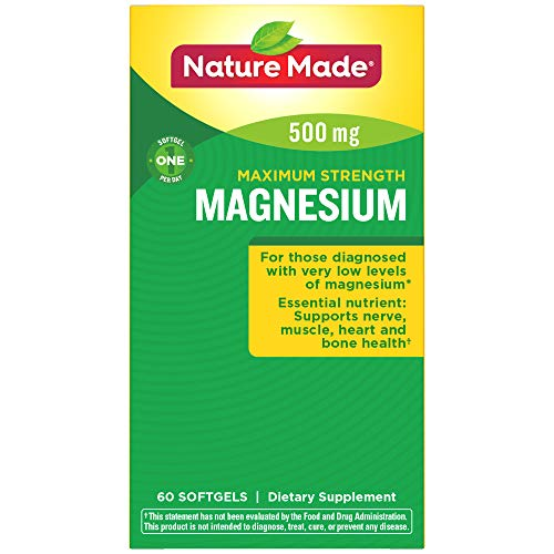 Nature Made Maximum Strength Magnesium 500 mg Softgels, 60 Count (Packaging May Vary)