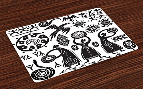 Ambesonne Primitive Place Mats Set of 4, Dancing Shaman Eagle Sun Snake Figure Prehistoric Cave Drawing Tribal Folk Theme, Washable Fabric Placemats for Dining Room Kitchen Table Decor, Black ()